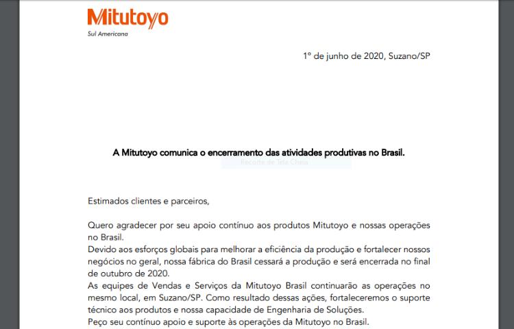 Mitutoyo encerra a produção no Brasil